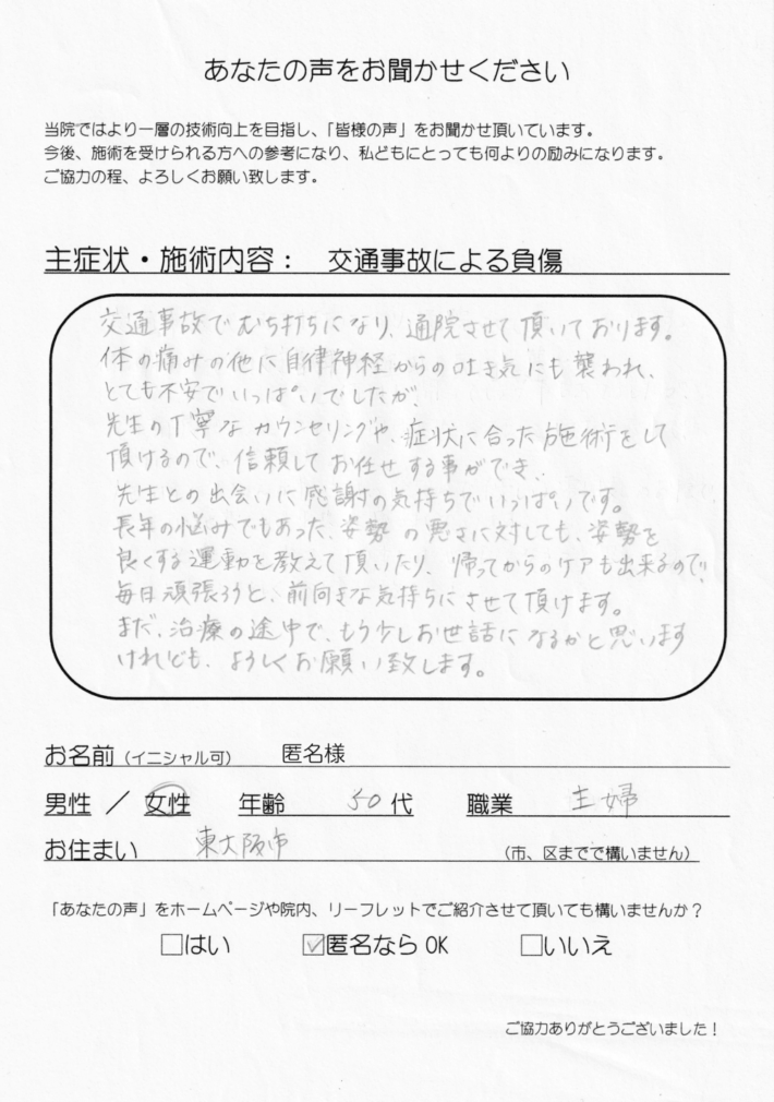 匿名希望様 女性 50代 主婦 東大阪市